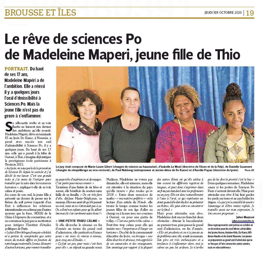 Madeleine admissible a Sciences Po, l'article des Nouvelles Calédoniennes